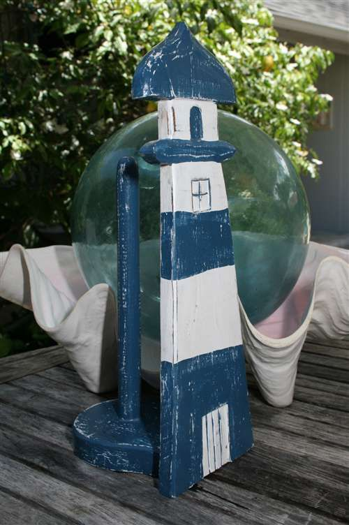 Coastal Paper Towel Holder Prepossessing Paper Towel Holder Shaped Like A Lighthouse In Blue & White Coastal Decorating Design