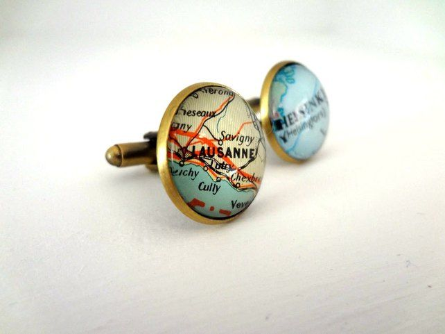 Personalised map cuff links