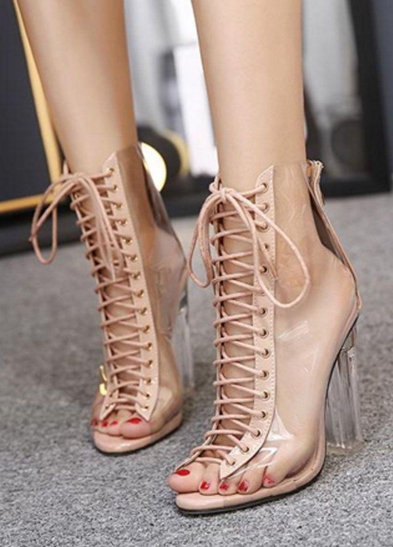 1b490ba0e8e Laced-up Transparent High Heels Open Toes Sandals  Women High Heels Women  Shoes Sexy Lingeire