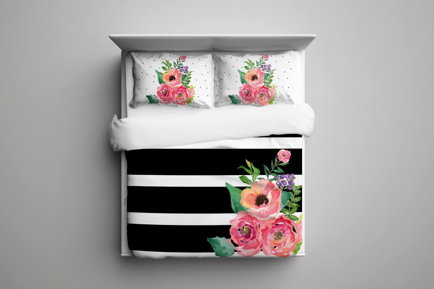 Black And White Stripes Floral Duvet Cover In 2019 Bedroom