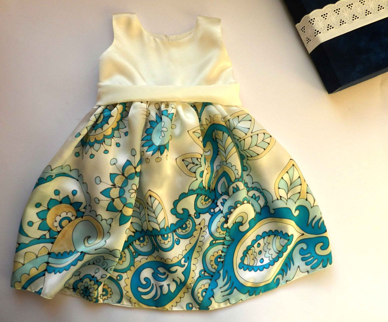 Russian style silk dress hand painted for kids.Paisley hand painted dress. Navy blue,  turquoise and  white  silk dress. Made to order