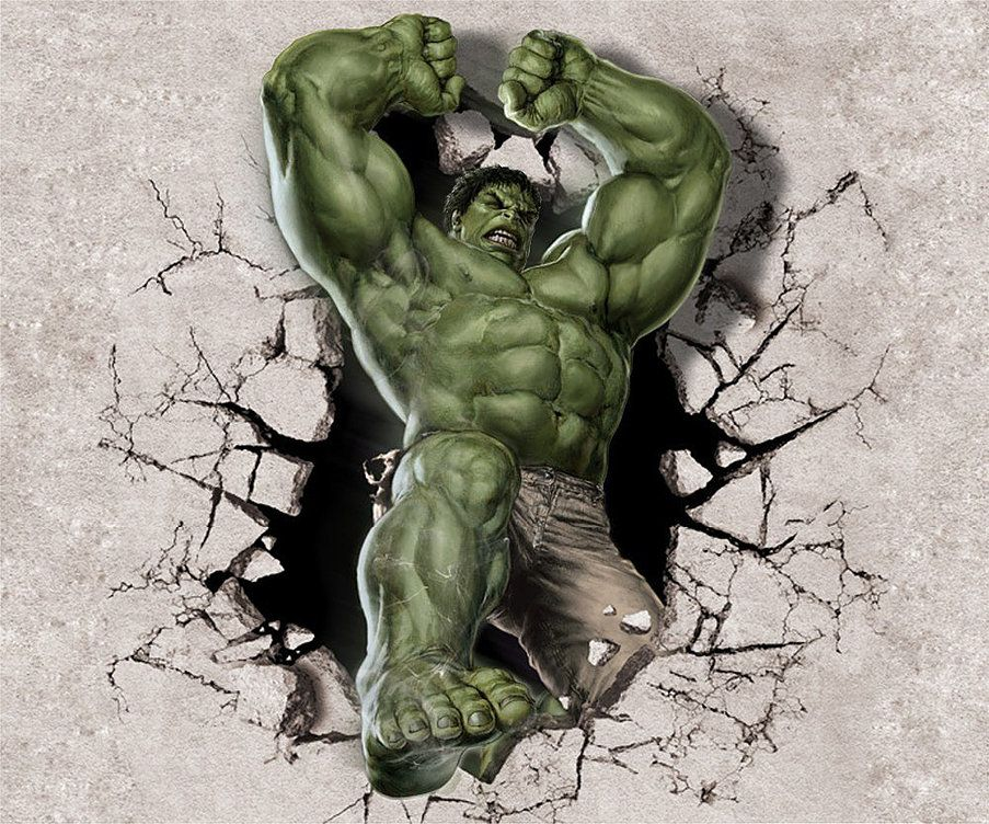 SUPERHEROES breaking smashing through wall sticker boys bedroom decal Spiderman Hulk Batman Captain America Deadpool Ironman Wolverine Thor