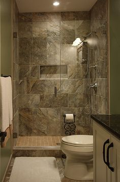 Nicely done for a small basement bathroom.  Living big in a small space  Pinterest  Small