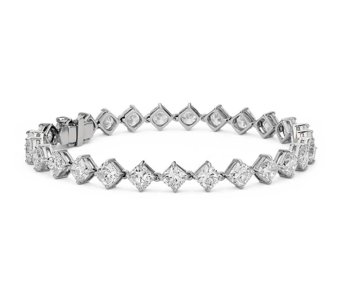 pin diamond in platinum kite cushion ct set cut eternity bracelet