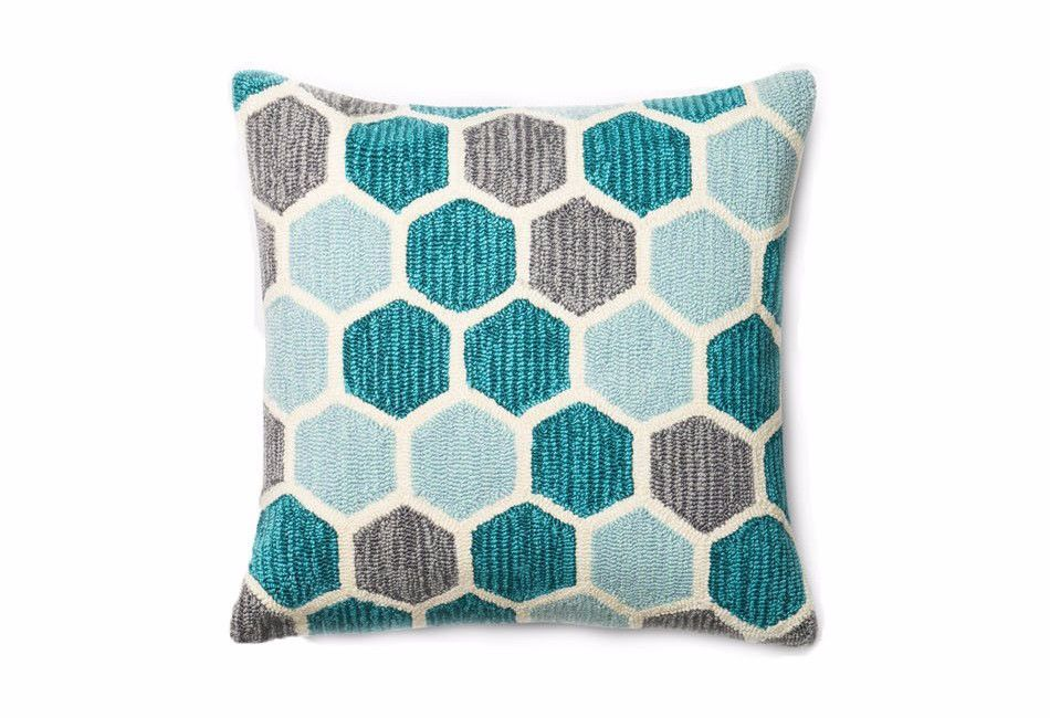 Loloi Hooked Indoor Outdoor Pillow Teal Cream Gray