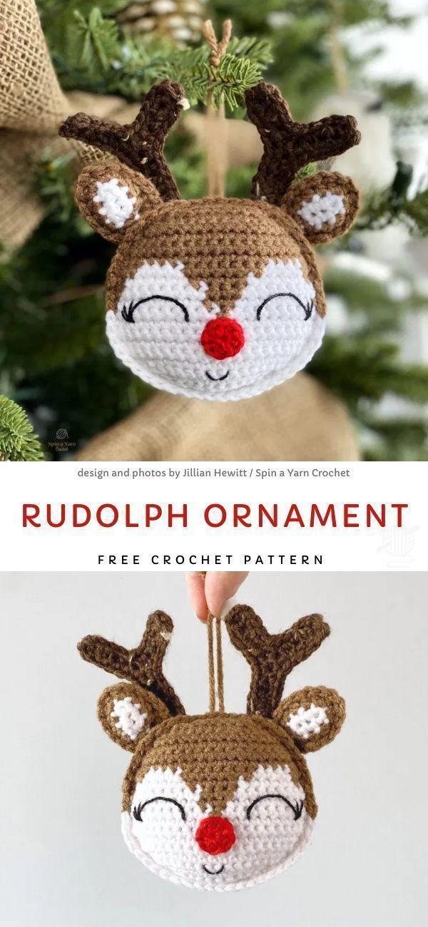 Photo of # Strickideen Weihnachten Rudolph Ornament Free Crochet Pattern – – #Crochet …, #Christma …