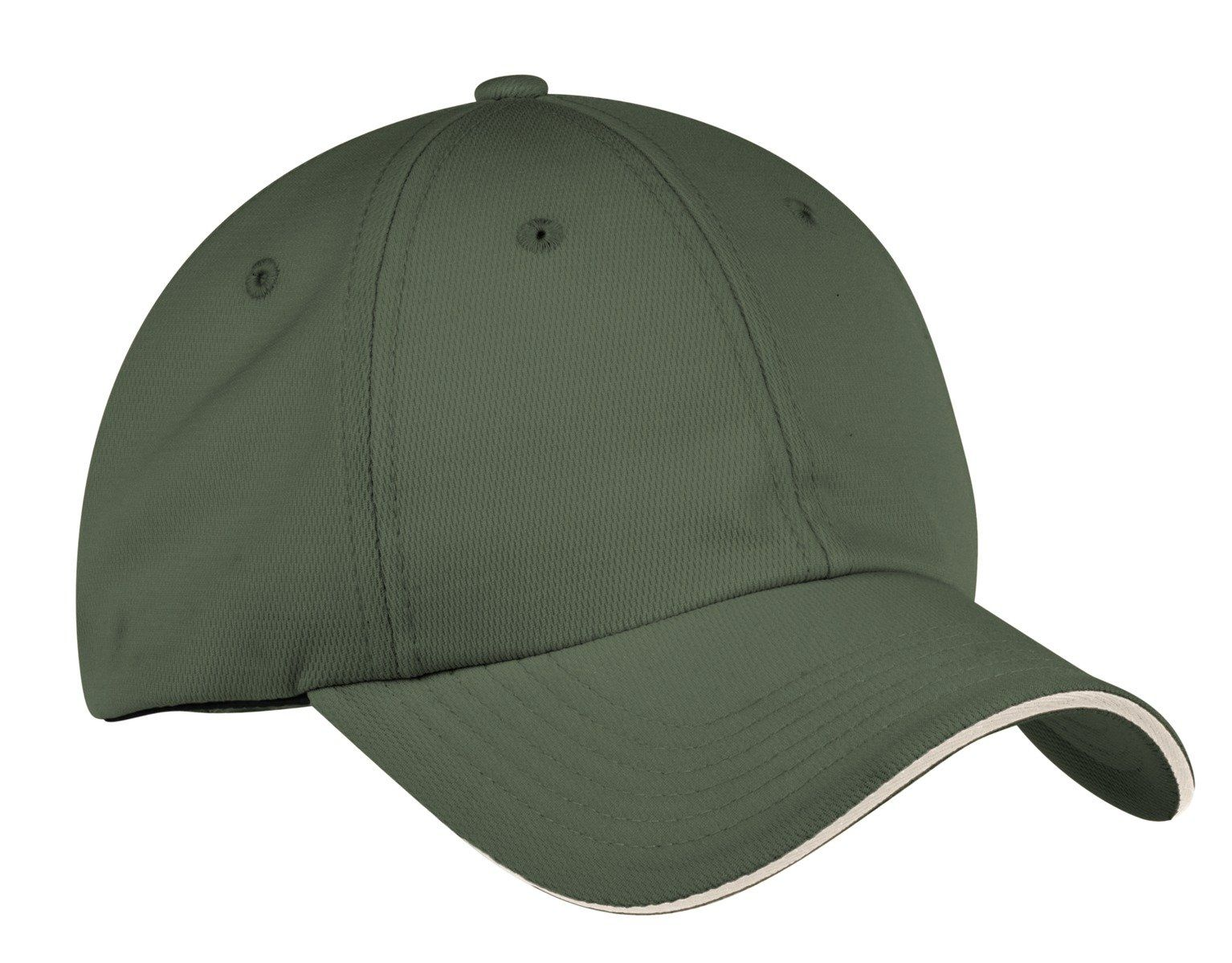 An exceptional combination of breathability and moisture wicking this cap features a quick-drying CoolMax sweatband. The sandwich bill adds character and is a great complement to any logo.Fabric: 55/45 poly/polypropylene double knitStructure: Lightly structuredProfile: LowClosure: Hook and loop