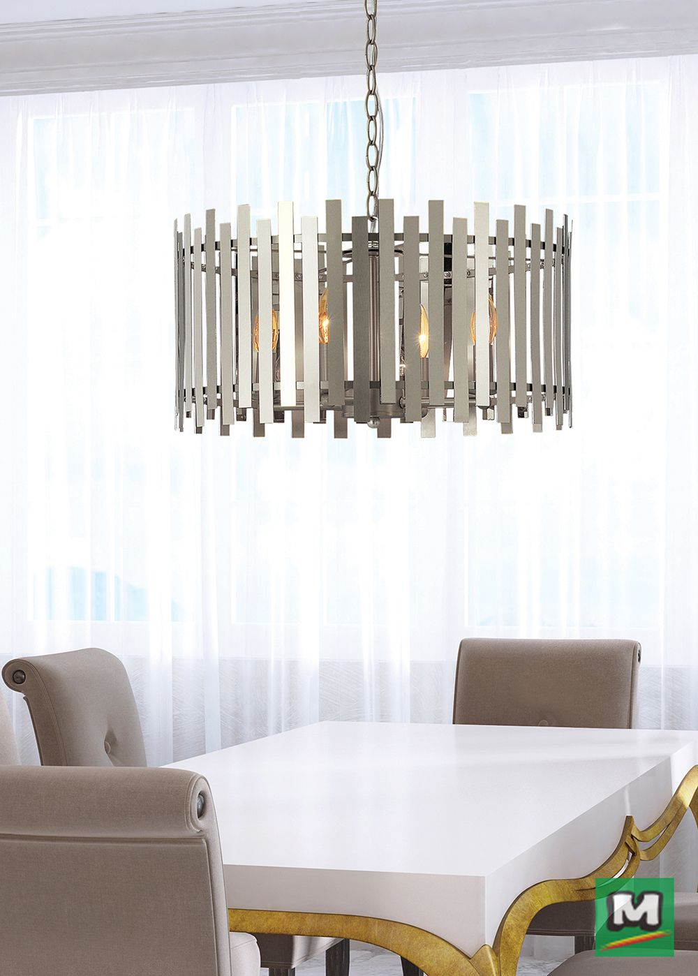 Hunter Lighting Bardo Chandelier With Both A Chrome And
