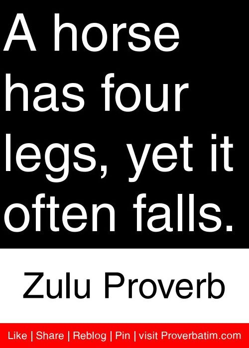 A Horse Has Four Legs Yet It Often Falls Zulu Proverb Proverbs  C B Amazing Quotesfun