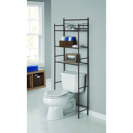 Mainstays 3 Shelf Bathroom Over The Toilet Space Saver With Liner Satin Nickel Walmart Com In 2020 Space Savers Bathroom Space Saver Farmhouse Master Bathroom