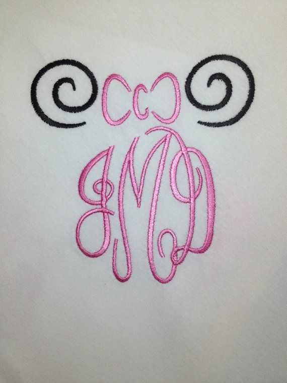 MONOGRAM SWIRL Ears Inspired By Minnie Mouse by CrayonCabin