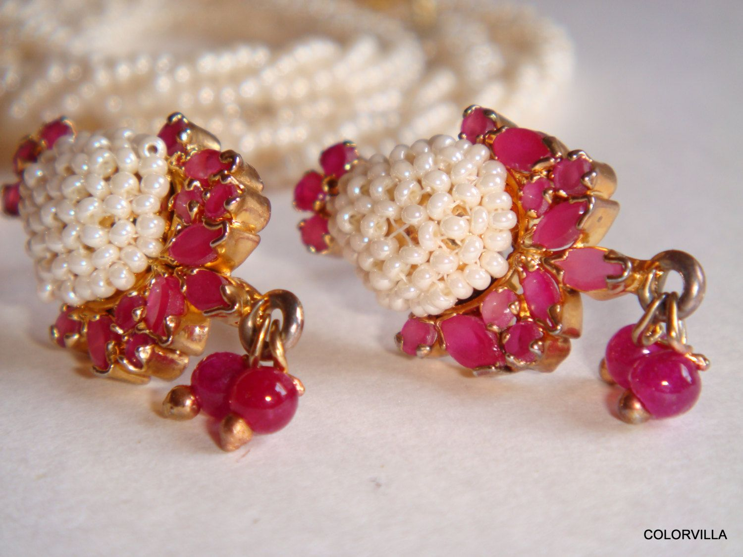 Season super sale adjustable ethnic pearl and ruby jewelry set of