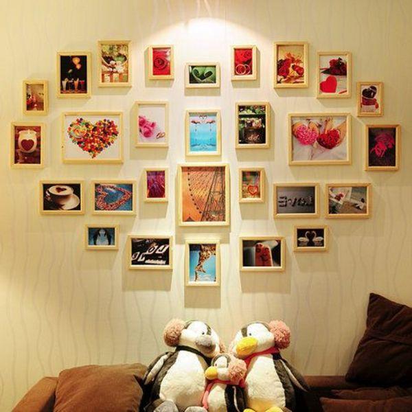 wie ein herz angeordnete bilder an der wand im wohnzimmer - Zeit - kunst fürs wohnzimmer