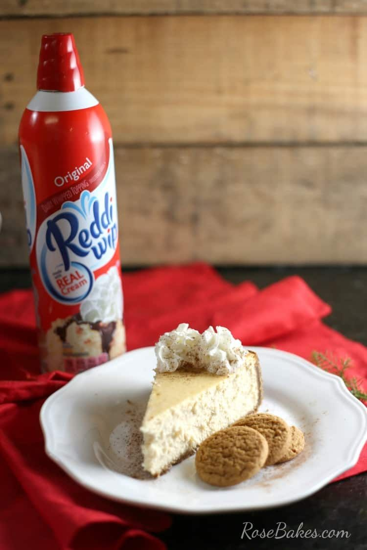 Eggnog Cheesecake with Gingersnap Crust #eggnogcheesecake