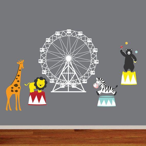 Nursery Wall Circus Bear Lion Zebra Giraffe Vinyl Wall Decal Set