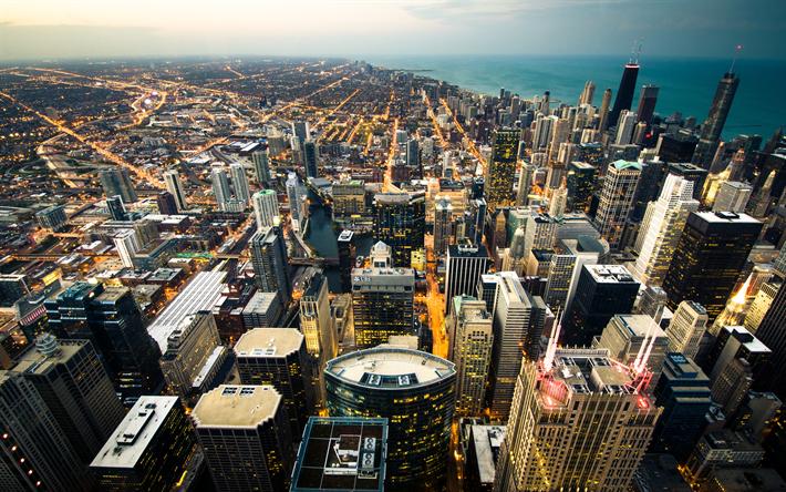 تحميل خلفيات شيكاغو 4k ناطحات السحاب مناظر المدينة Illinois الولايات المتحدة الأمريكية أمريكا Paisaje Urbano Rascacielos Chicago Skyline