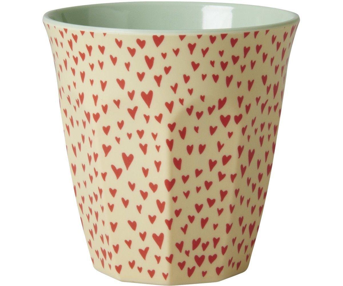 Rice Melamine Medium 9cm Cup Two Tone with X-Mas Print Heart