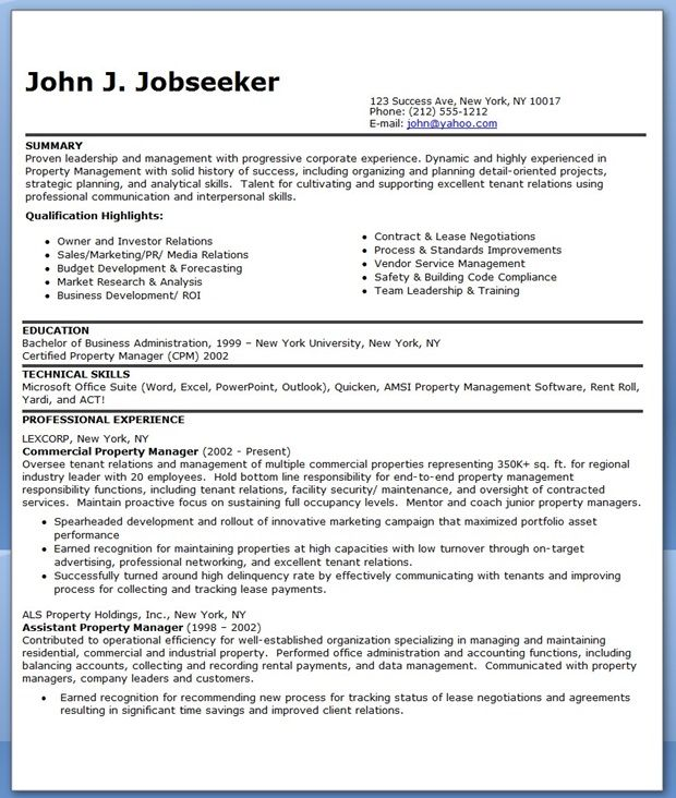 Commercial Property Manager Resume Templates Creative Resume - commercial manager job description