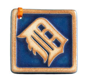Tigers Old English D Ornament Pewabic Pottery Tile Art Old English D