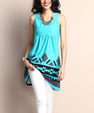 Another great find on #zulily! Turquoise Southwest Sleeveless Empire-Waist Tunic Dress by Reborn Collection #zulilyfinds