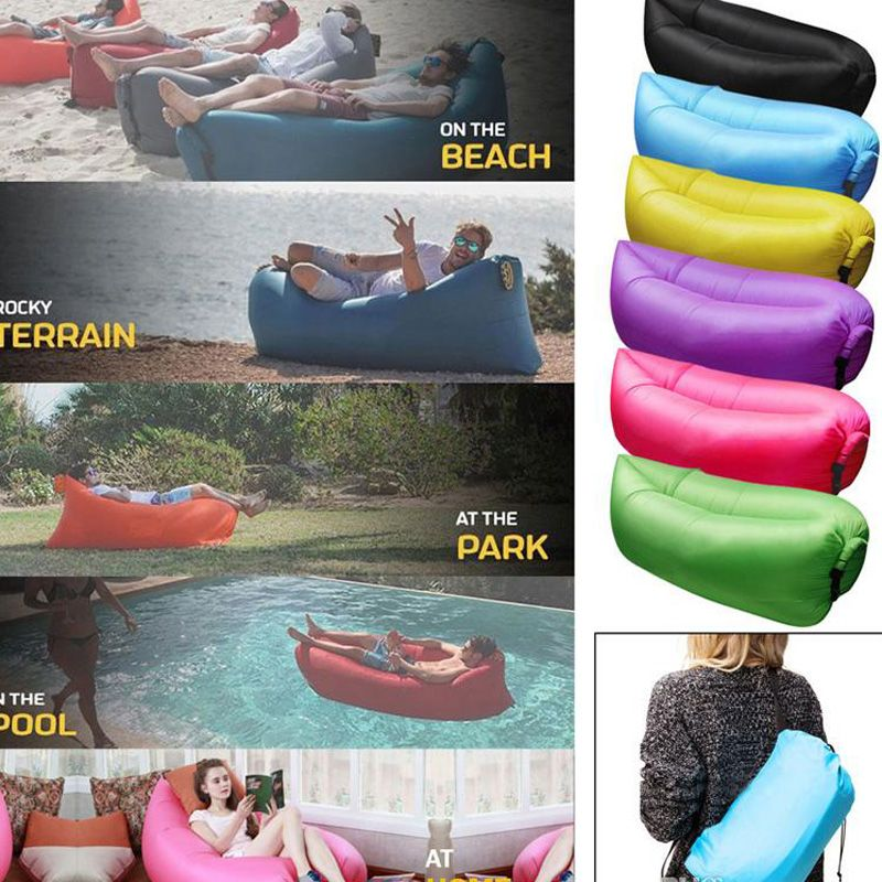 Inflatable Sofa Nylon Fabric Lounger Chair Air Compression Outdoor Camping Beach Sleeping Bag Pads Portable Lazy Bed Hangout Couch