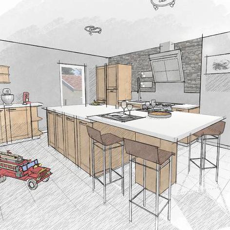 Dessin De Cuisine Rendu Crayonné  Kitchen Design Conception Gorgeous Kitchen Design Drawings Decorating Inspiration