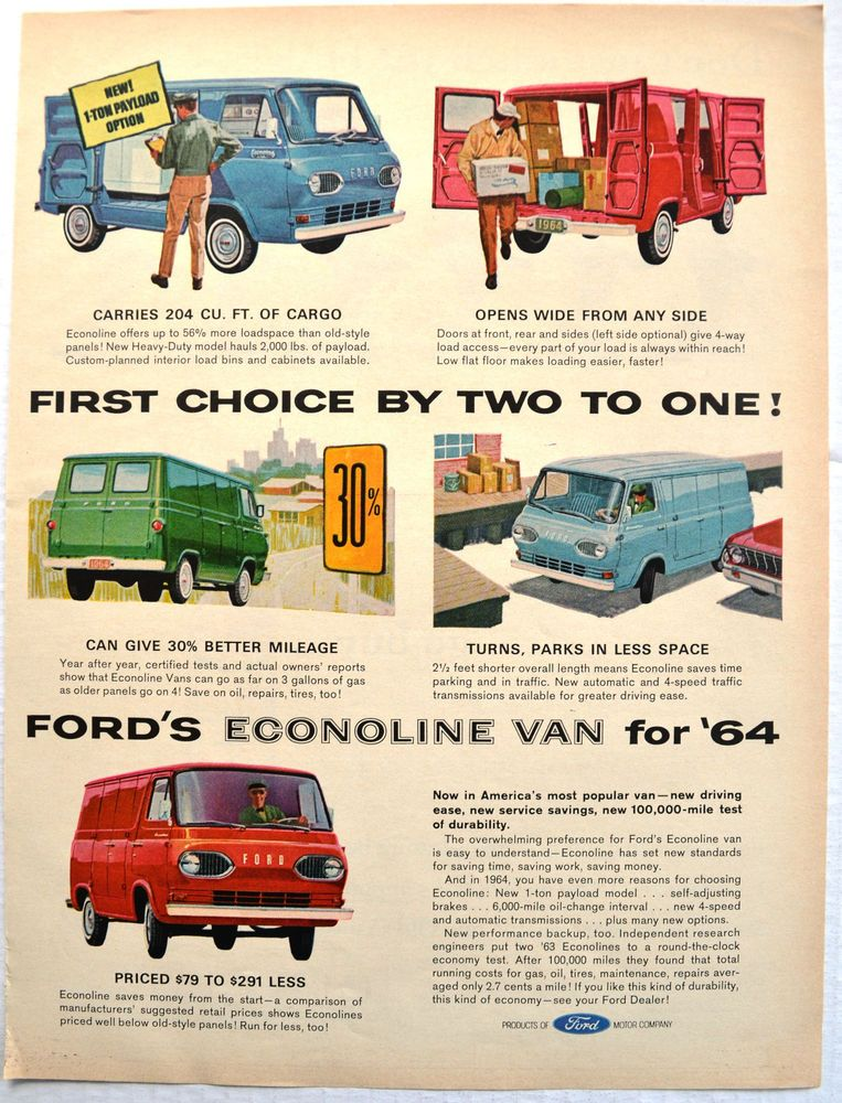 1964 Ad Vintage 65 Ford Vans Econoline All Jobs All Colors
