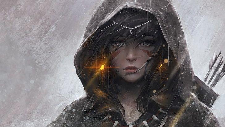 black haired girl anime character illustration, digital art, anime girls HD wallpaper #characterart