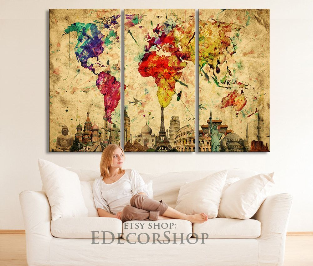 Wonders of the world colorful world map canvas print on old paper wonders of the world colorful world map canvas print on old paper large size world map canvas painting gumiabroncs Images