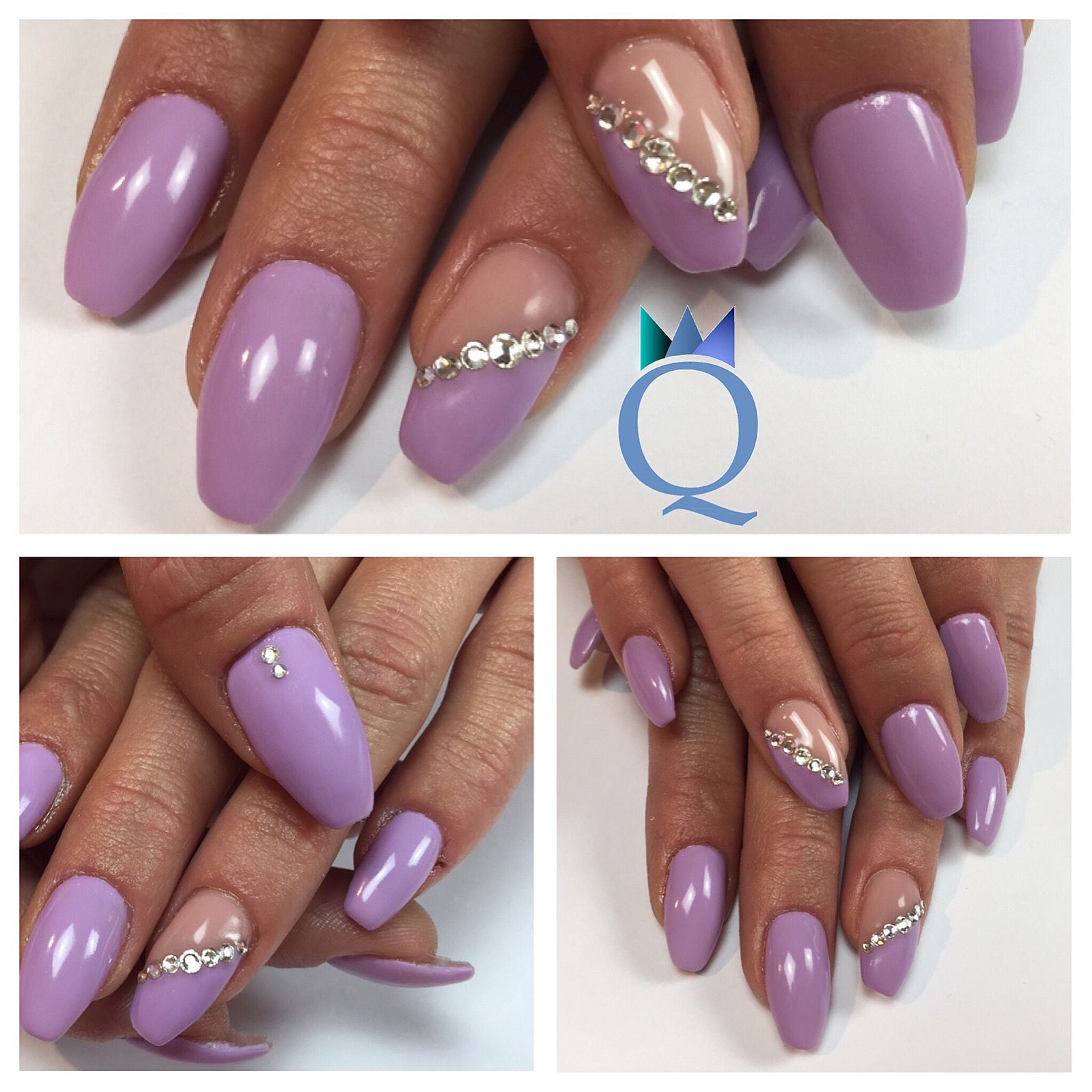 coffinnails gelnails nails lilac silver stones ballerina form geln gel n gel lila. Black Bedroom Furniture Sets. Home Design Ideas