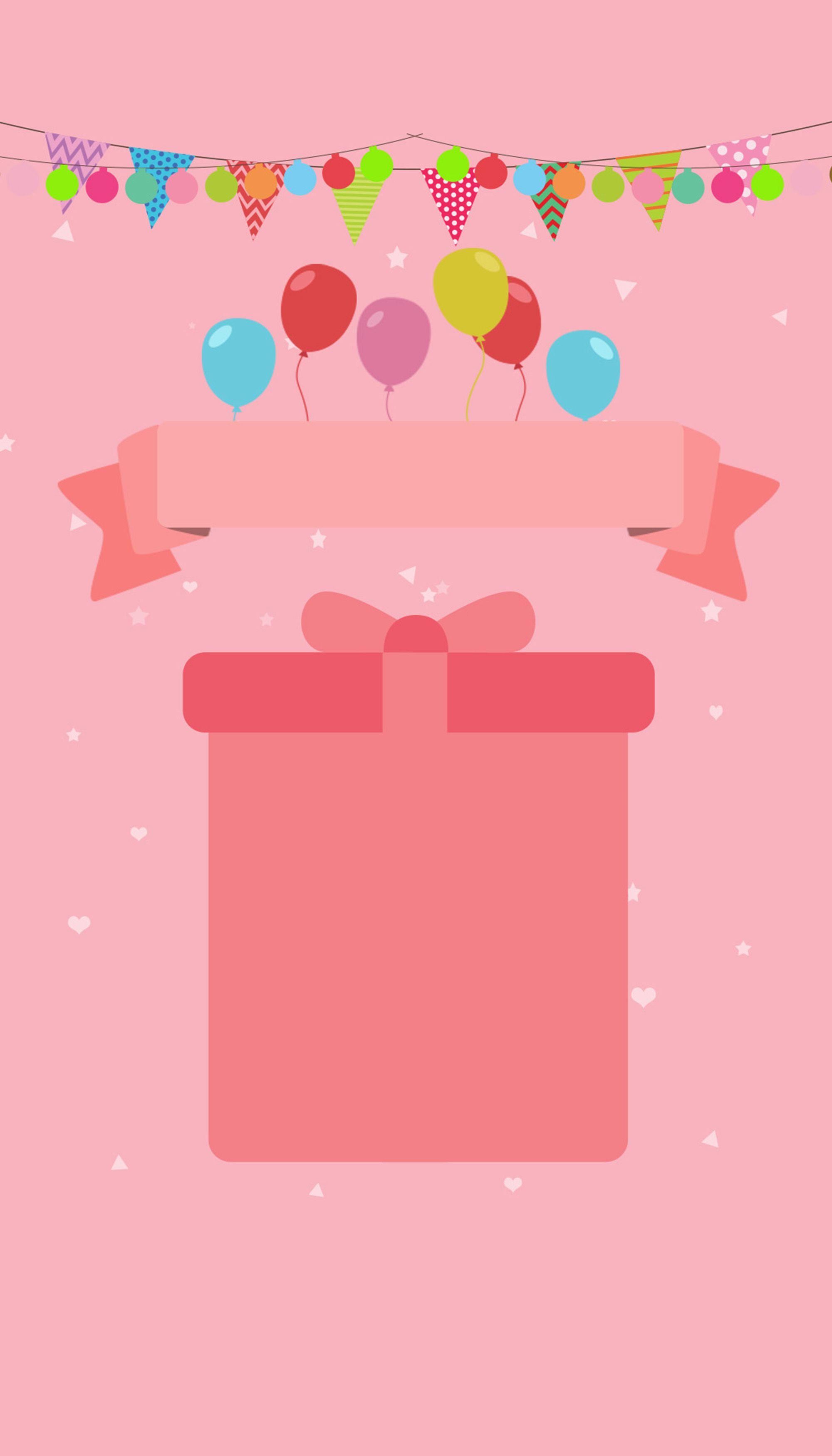 Card Design Pink Cartoon Background Happy Birthday Wallpaper Cartoon Background Card Design