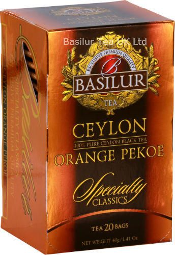 Bbasilur Tea Specialty Classics Ceylon Orange Pekoe Foil Enveloped 20 Tea Bags From The Misty Mountains Of Ceylon S Finest Tea Gardens Comes This Exquisite