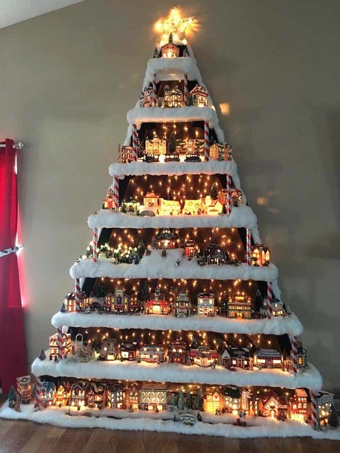 kerst ideeen 2020 Wall Christmas Village Tree #Christmas #trees #decorhomeideas