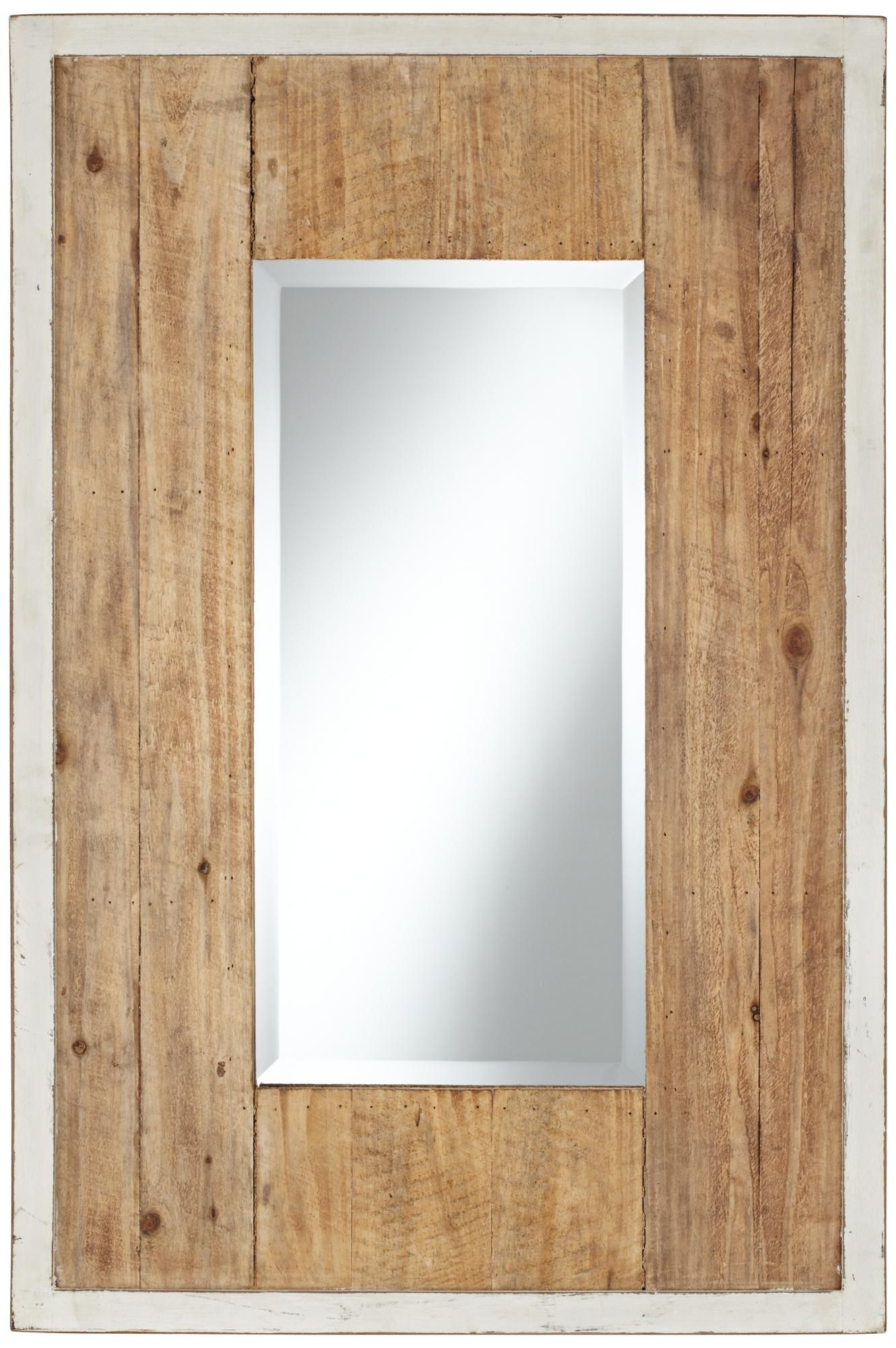 natural wood mirror bathroom distressed white and natural wood 36