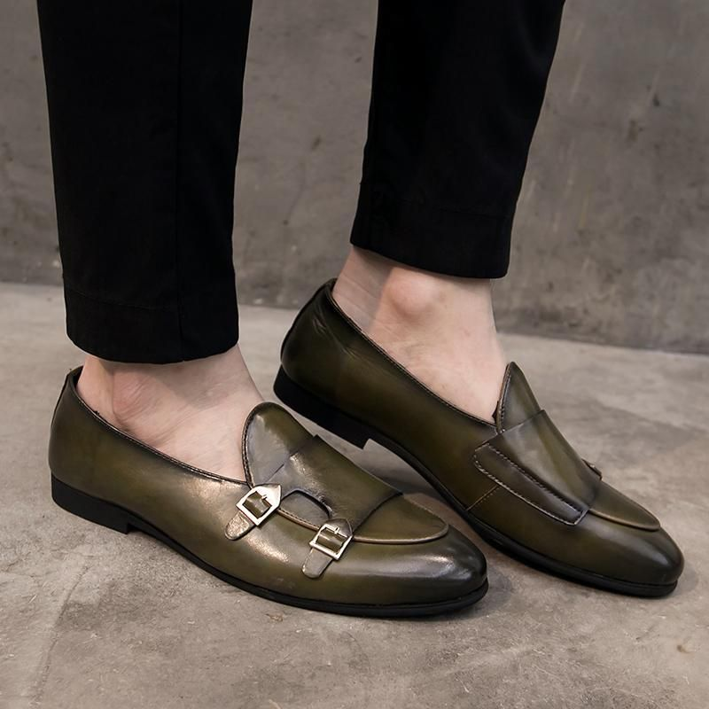 Men Casual Slip On Leather Pointy Toe Nightclub Dress Business Work Office Shoes