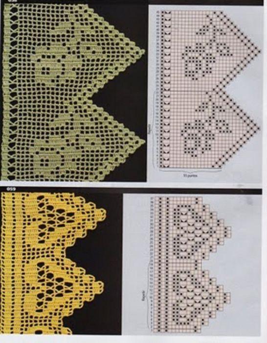 filet crochet border edge charts | bordüre | Pinterest | Häkeln ...