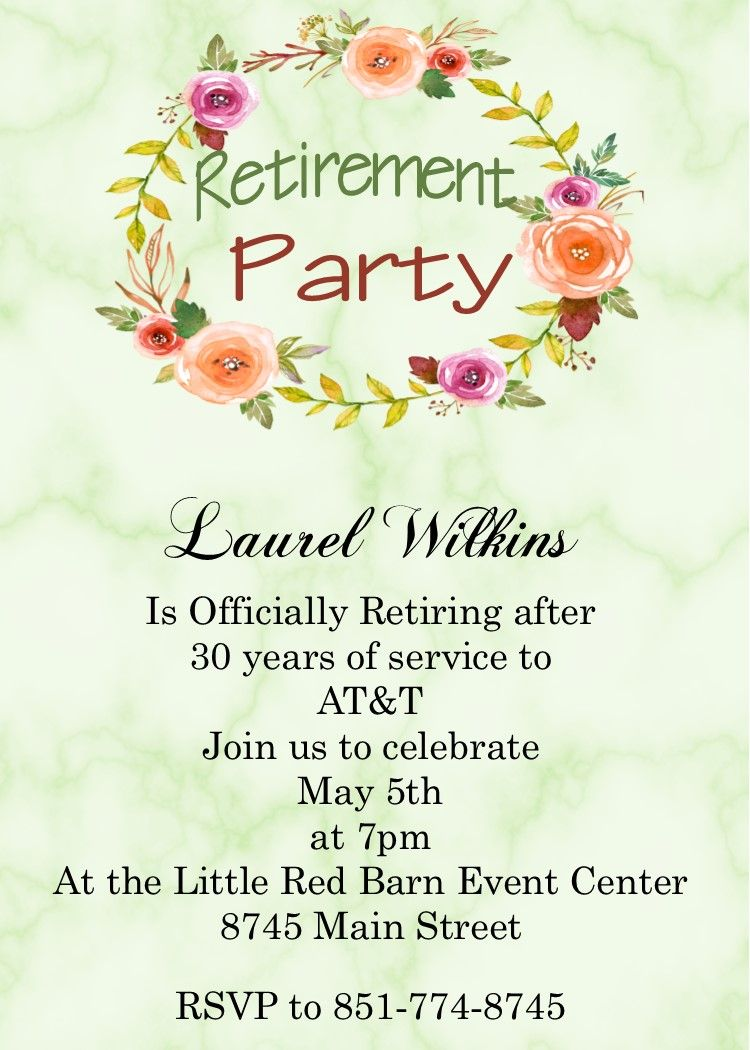 Marble with Floral Wreath Retirement Party Invitations