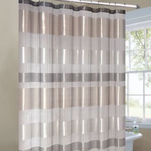 Metallic Stripe Shower Curtain Silver Gold Fabric Shower
