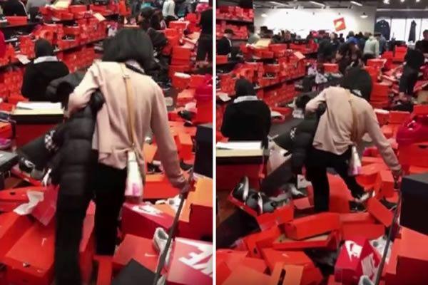 81871f063 Black Friday craze shoppers demolish a Nike store at Tulalip, Wash ...