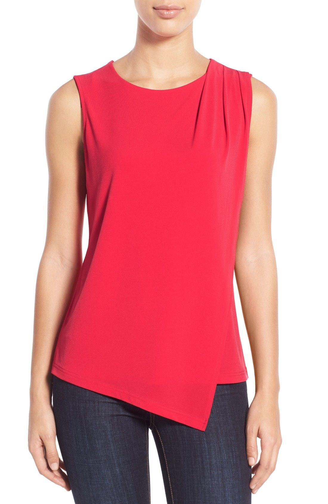 Free shipping and returns on Halogen® Asymmetrical Wrap Front Top (Regular