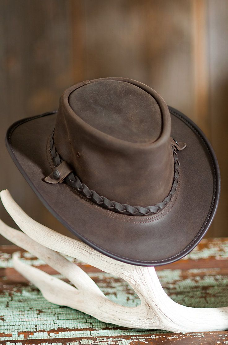 You ll get noticed in this hat that features the distinctive simplicity of  crushable leather with a braided leather hatband. Free shipping returns. c4c652a2905