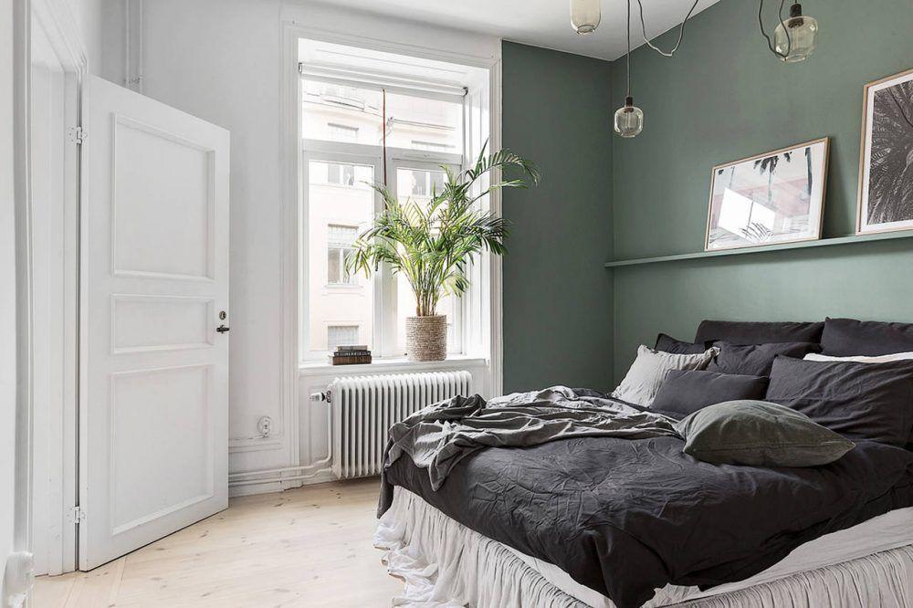Geef je kleine slaapkamer meer sfeer met een groene muur - Muur ...