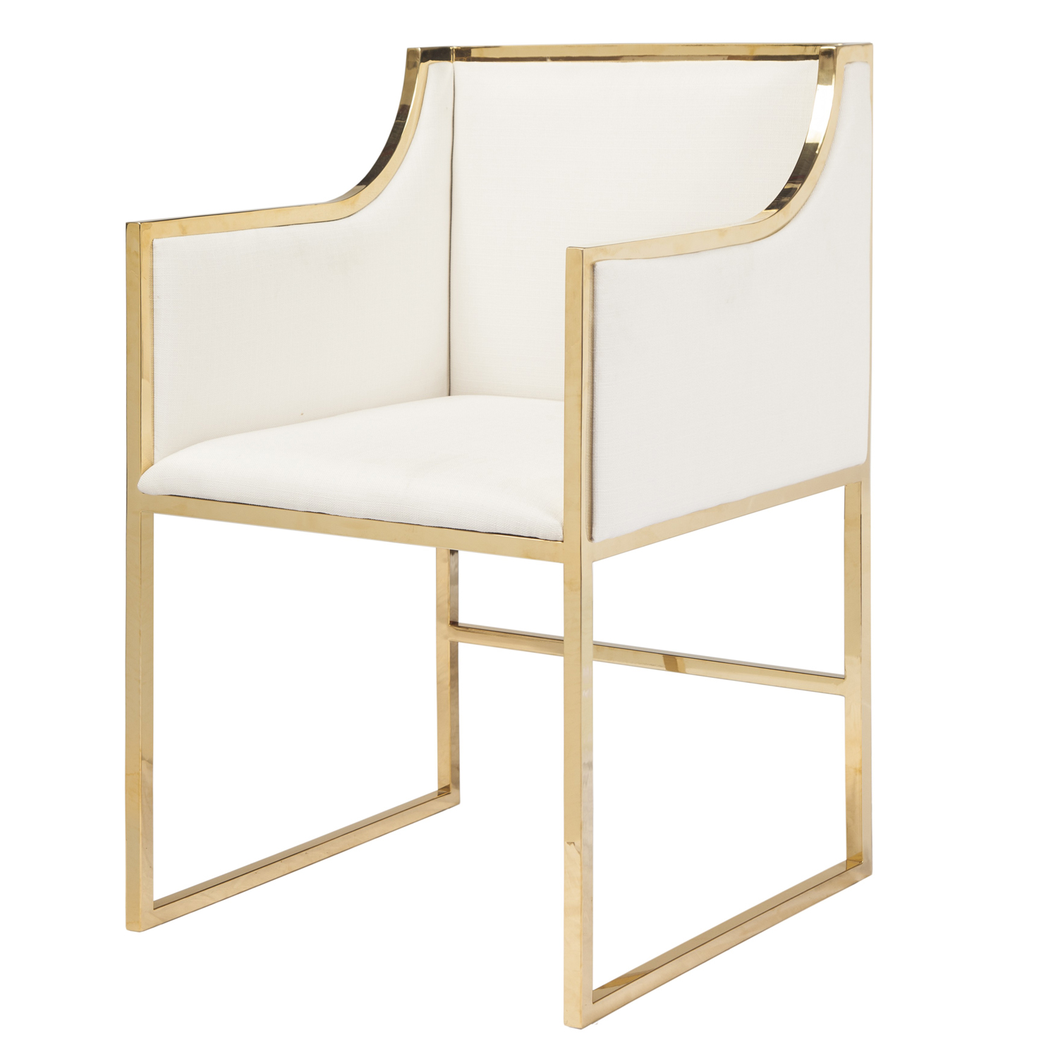 White Linen Dining Occasional Chair With Brass Frame Seat Height