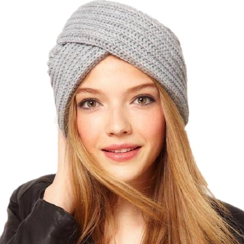 New Knitted Turban Hat For Women Winter Beanies Cap Fashion Ladies Indian  Turban Caps Solid Headwear Autumn Men Skullies Hats 069af4be6