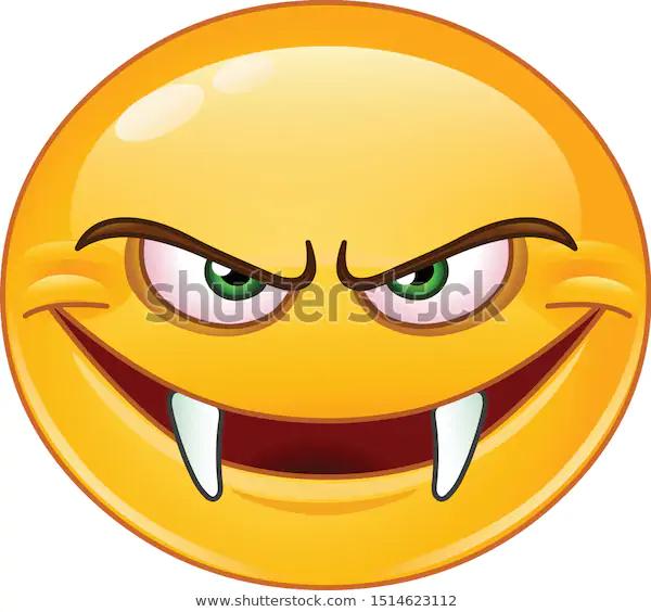 Evil Emoji Emoticon Fangs Stock Vector Royalty Free 1514623112 In 2020 Emoji Emoticon Emoji Design