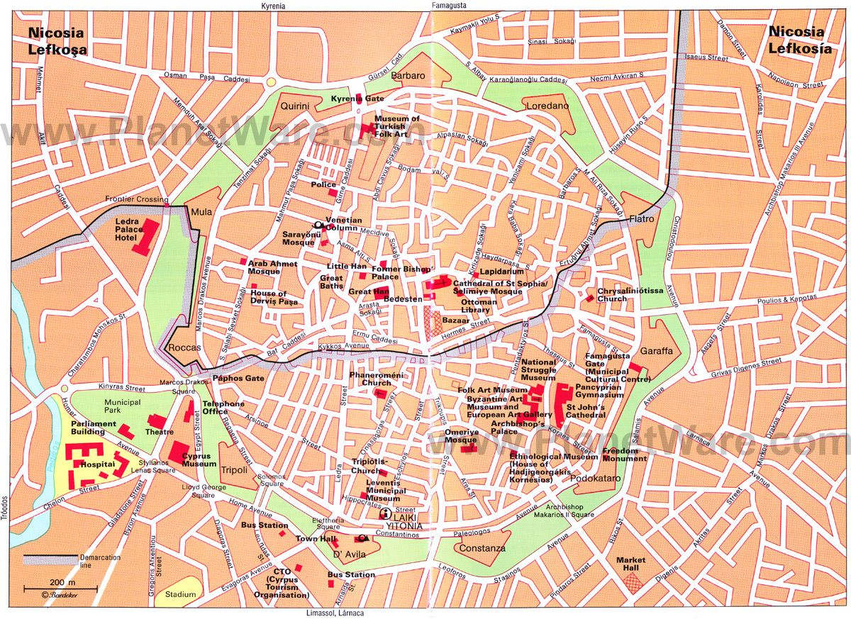 Nicosia Map Tourist Attractions Cyprus Like No Other - Map of northern cyprus in english