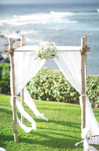 4 Post Bamboo Wedding Canopy With White Draping Floral