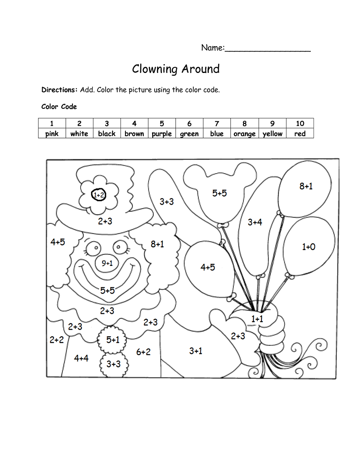 Math Worksheet Fun Printable