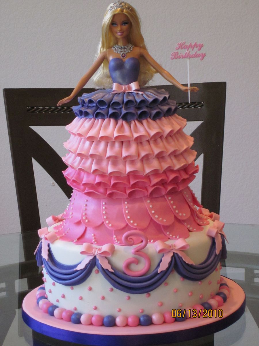 Barbie Cake 3 Tier Barbie Cake Designed For A 3 Year Old S