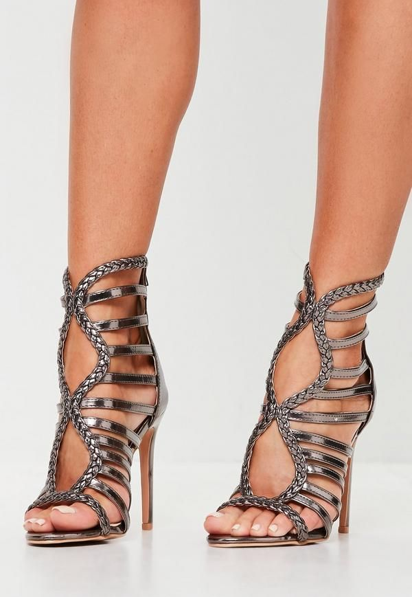 3f69ca384dad Pewter plaited gladiator sandals with rounded toe